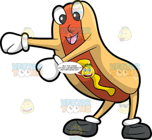 A Hot Dog Dancing The Floss. A reddish brown hotdog with eyes, nose and smiling mouth, swirled with a yellow mustard and sandwiched in a light brown bun with arms and legs, wearing white gloves and dark gray shoes, dancing the floss