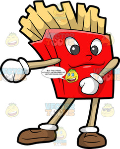 French Fries Dancing The Floss. A batch of shoe string French fries in a red container box with eyes, nose and smiling lips, beige arms and legs wearing white gloves and brown shoes, dancing the floss