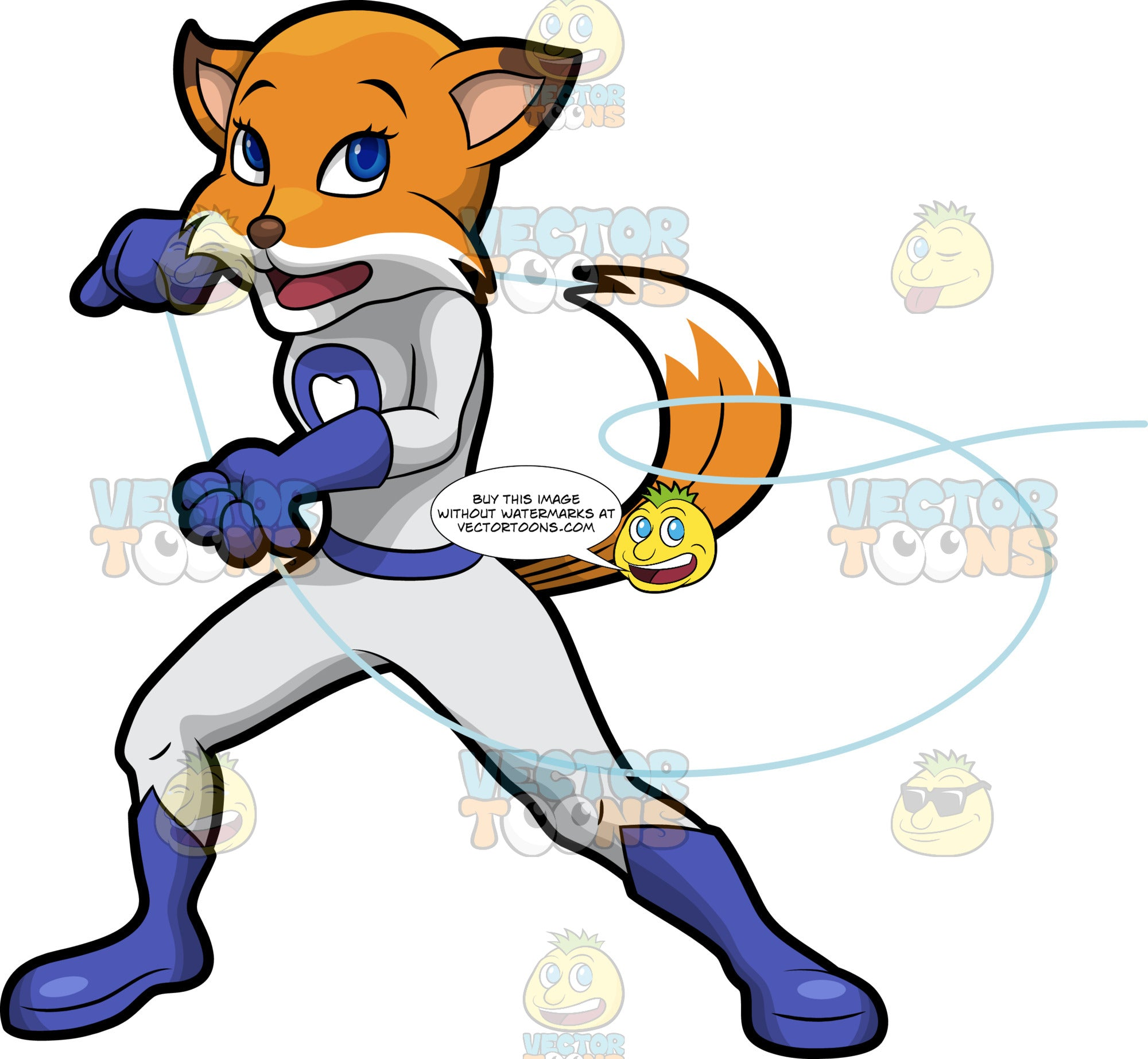 Flossy Fox Using A Long Piece Of Dental Floss As A Lasso. A pretty red fox wearing a fitted white one piece outfit with blue boots and gloves, and a tooth symbol on the chest, standing and whipping out a long piece of dental floss like a lasso