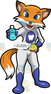 Flossy Fox Holding A Bottle Of Mouthwash. A pretty red fox wearing a fitted white one piece outfit with blue boots and gloves, and a tooth symbol on the chest, standing with one hand on her hip and the other hand holding a bottle of blue mouthwash