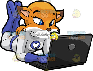 Flossy Fox Working On A Laptop Computer. A pretty red fox wearing a fitted white one piece outfit with blue boots and gloves, and a tooth symbol on the chest, lying on her stomach with her feet up in the air and doing some work on her laptop