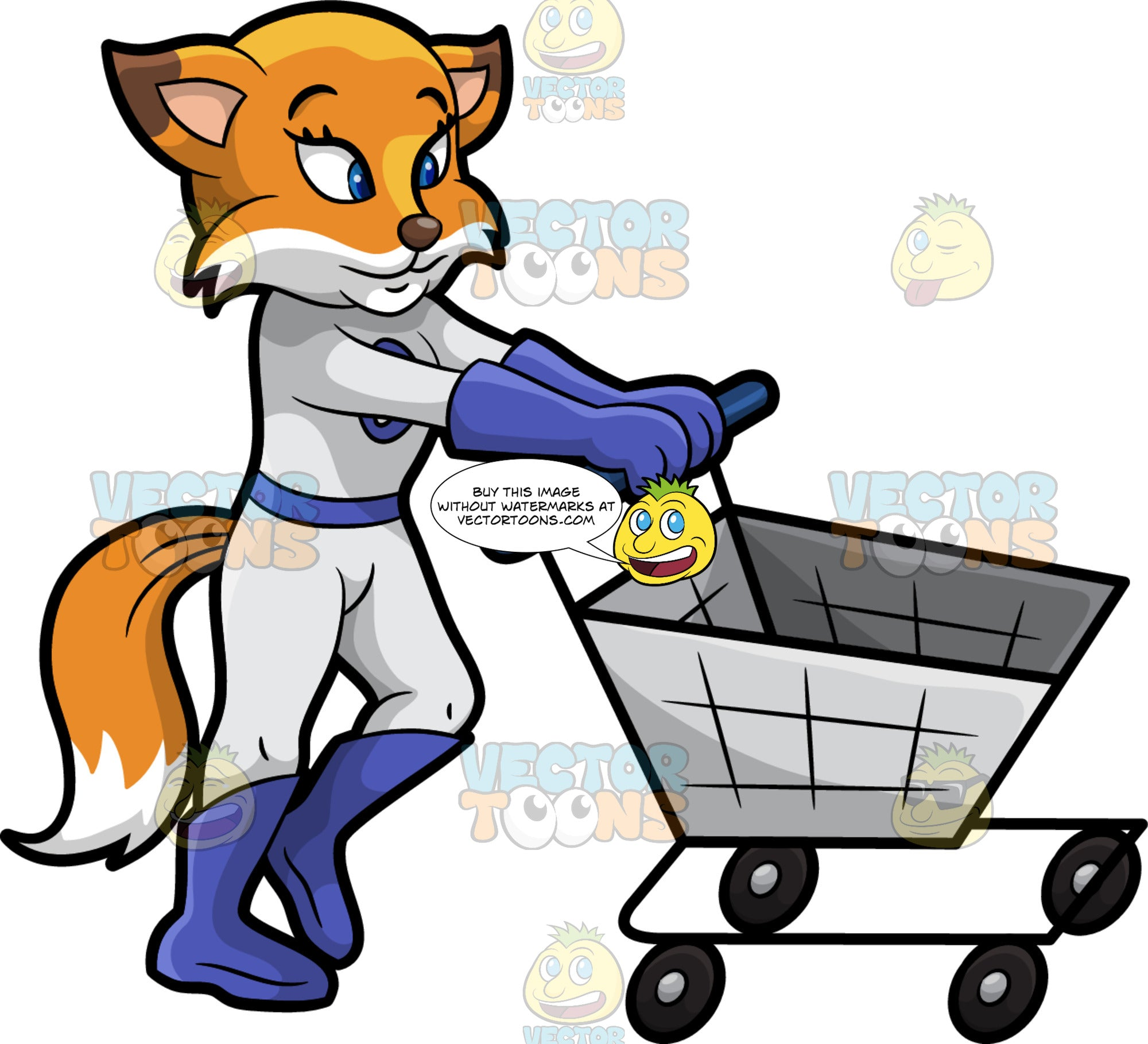 Flossy Fox Pushing An Empty Grocery Cart. A pretty red fox wearing a fitted white one piece outfit with blue boots and gloves, and a tooth symbol on the chest, standing behind an empty grocery cart and pushing it around as she shops for healthy food