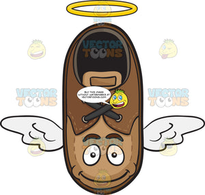 Flying Brown Shoe With Halo And Wings Emoji