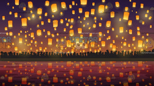 Flying Paper Lanterns At Diwali Festival Background