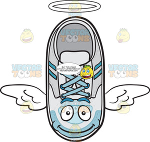 Flying Sneakers With Halo And Wings Emoji
