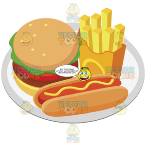 Plate With A Hamburger French Fries And A Hot Dog With Mustard On It