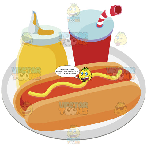 Hot Dog With Mustard On A Plate With A Bottle Of Mustard And A Cup With A Straw In It