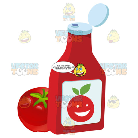 Open Ketchup Bottle Sitting Next To A Tomato