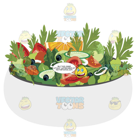 Salad In A Large Bowl With Lots Of Veggies