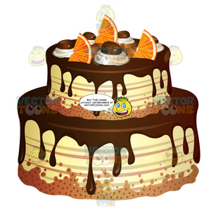 Two Layer Cake With Chocolate Frosting And Garnished With Orange Slices And Chocolate Drops