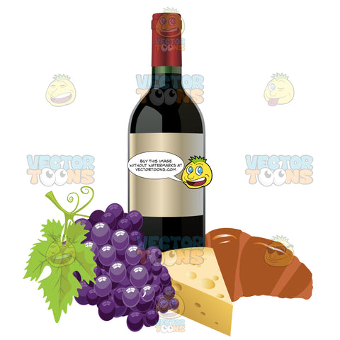 Wine Bottle With Grapes Cheese And A Croissant