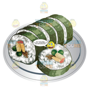 Sushi Roll Sliced Into Portions
