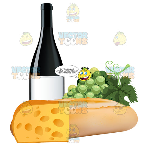 French Bread With Grapes A Bottle Of Wine And Swiss Cheese