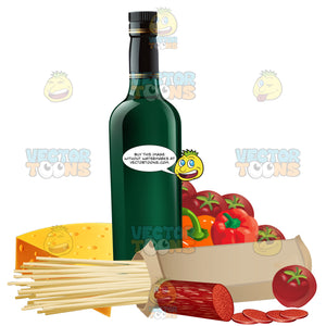 Bottle Of Wine With Dried Pasta And Other Ingredients To Make A Pasta Dish