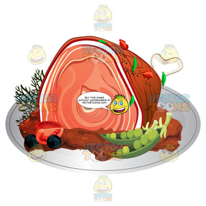 Large Bone In Ham With Veggies On A Plate