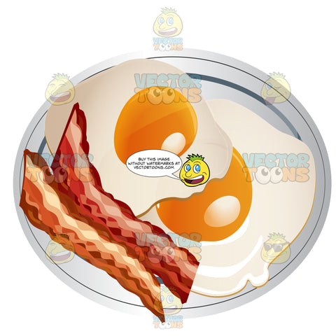 Two Sunny Side Up Eggs With Bacon On A Plate
