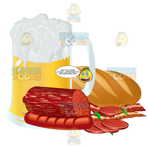 Mug Of Beer With A Loaf Of French Bread Salami Sausage And Bacon