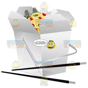 Take Out Container Of Asian Food With Chopsticks