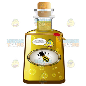 Container Of Honey With A Bee On The Label