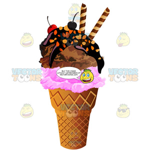 Ice Cream Cone With Strawberry And Chocolate Ice Cream With Chocolate Sauce Nuts And Cherries