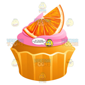 Cupcake With Pink Frosting And An Orange Slice