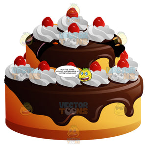 Two Tier Cake With Chocolate Frosting Whipped Cream And Cherries