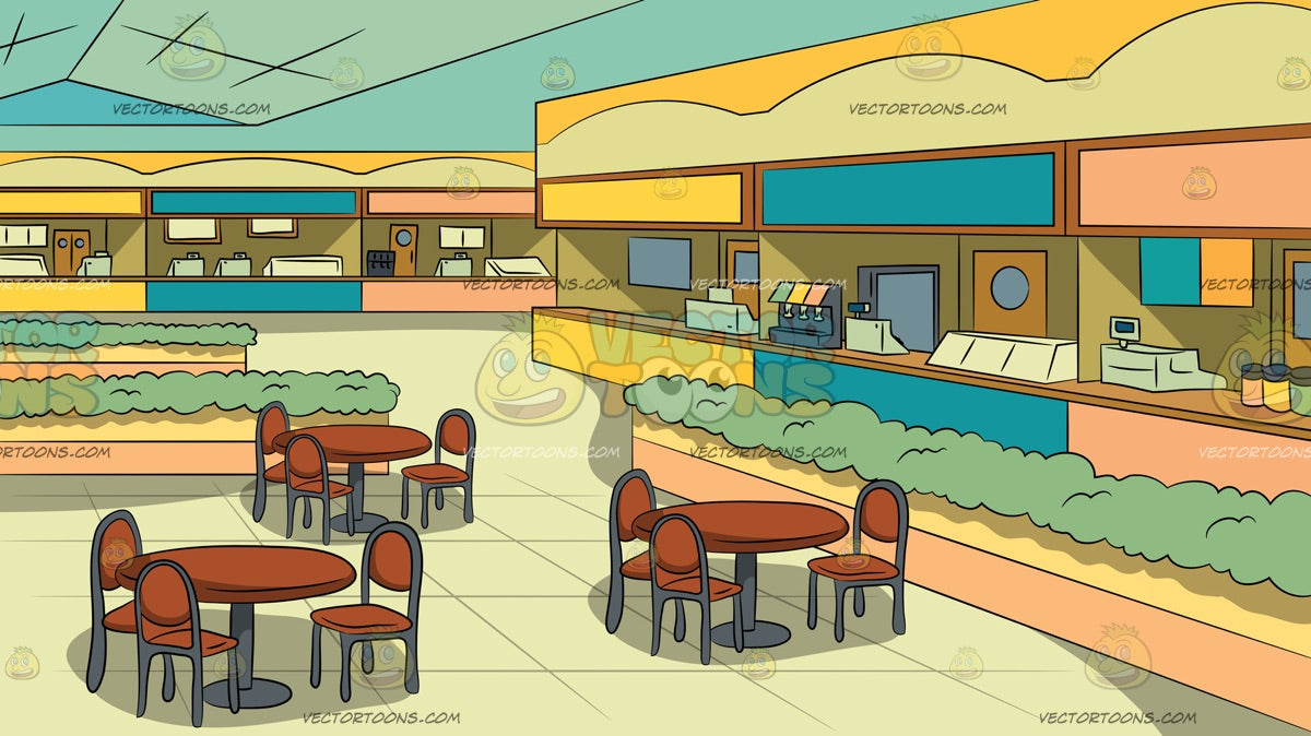 Food Court Inside A Mall Background Clipart Cartoons By