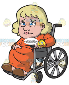 A Chubby Old Woman In A Wheelchair