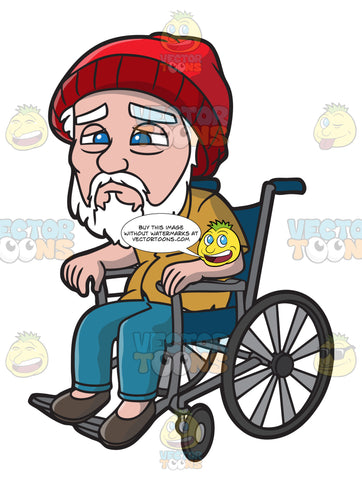 A Weak Old Man In A Wheelchair