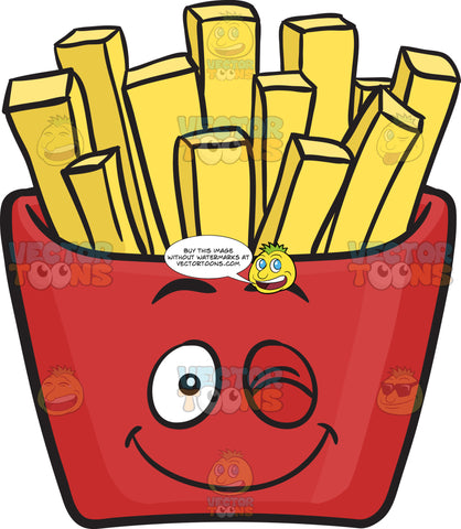 Wink & Smile Jolly Red Pack Of French Fries Emoji