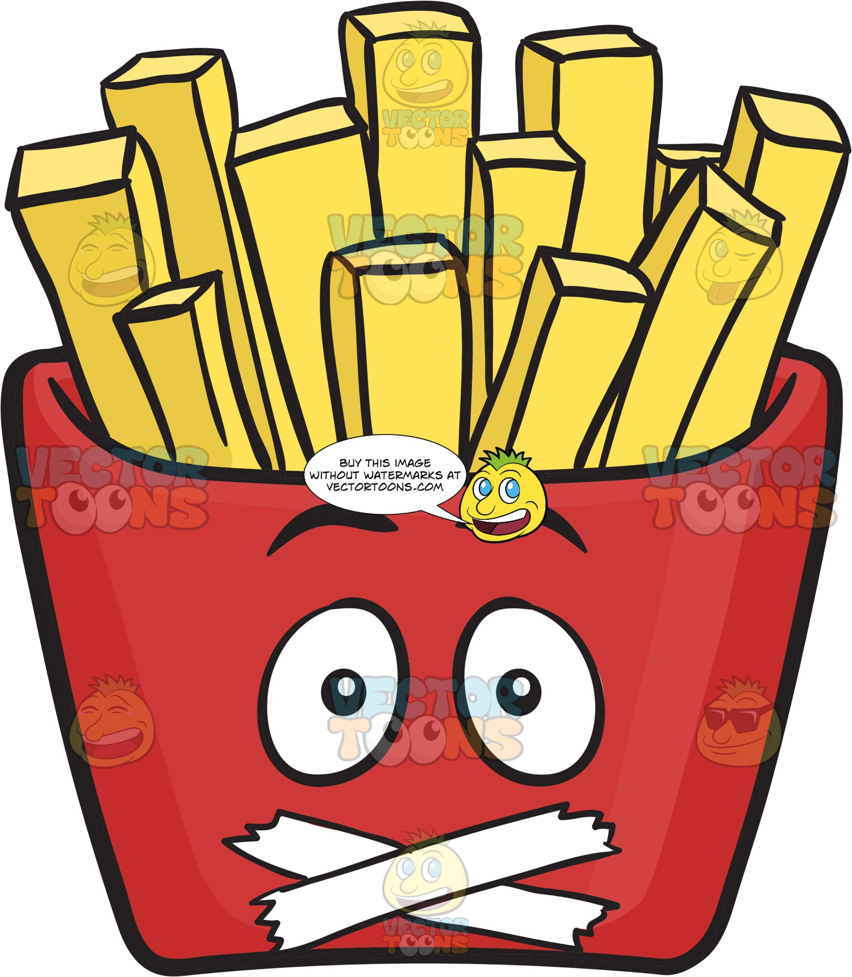 Red Pack Of French Fries With Sealed Mouth. Emoji
