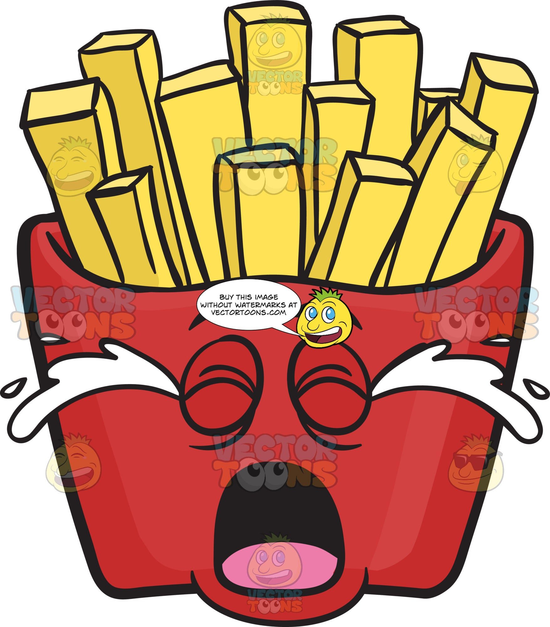 Weeping Red Pack Of French Fries Emoji