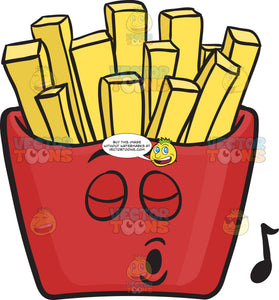 Pack Of Red French Fries Leisurely Singing Emoji