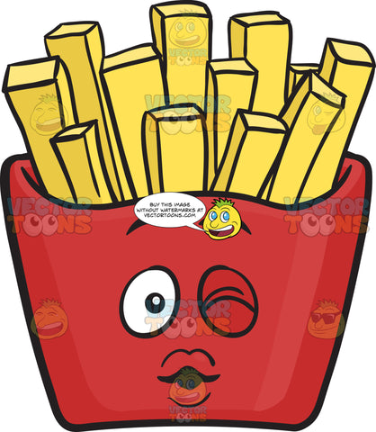 Red Pack Of French Fries Blowing A Kiss Emoji