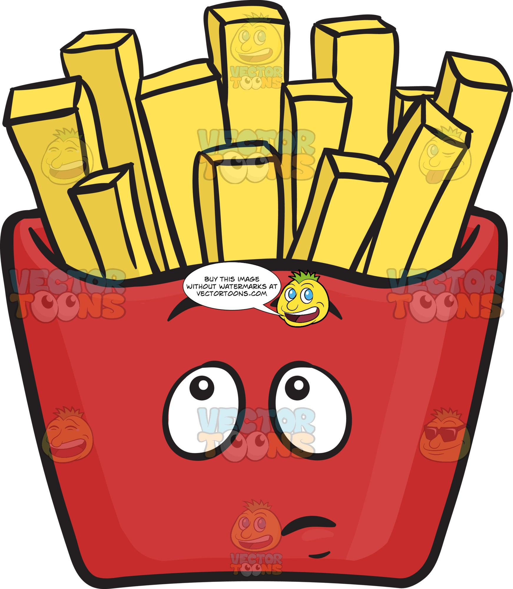Red Pack Of French Fries In Wonder Emoji