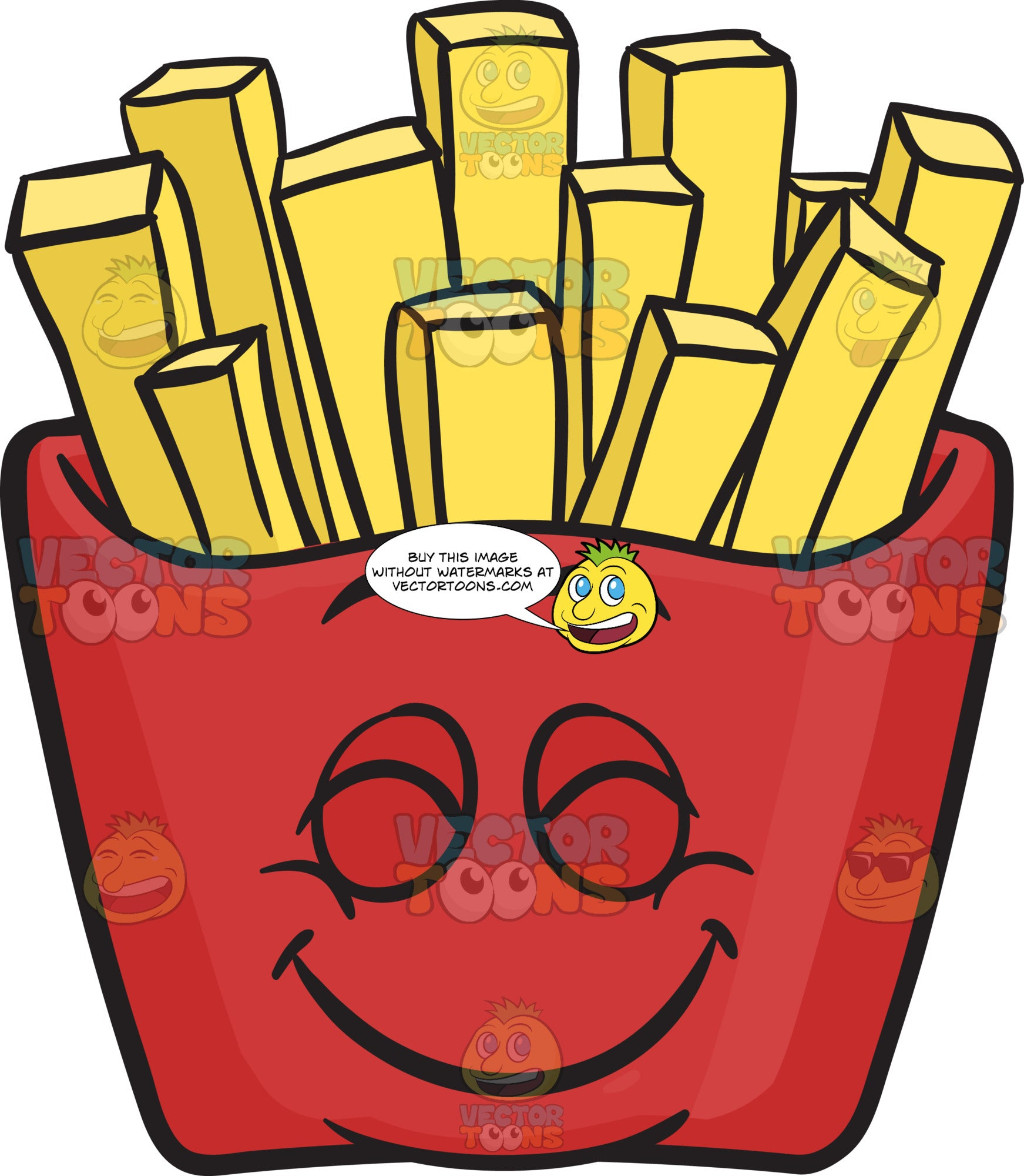 Pleasantly Contented Red Pack Of French Fries Emoji