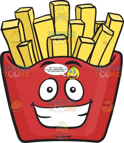Grinning Red Pack Of French Fries Emoji