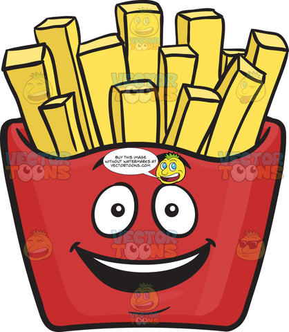 Delighted Red Pack Of French Fries Emoji