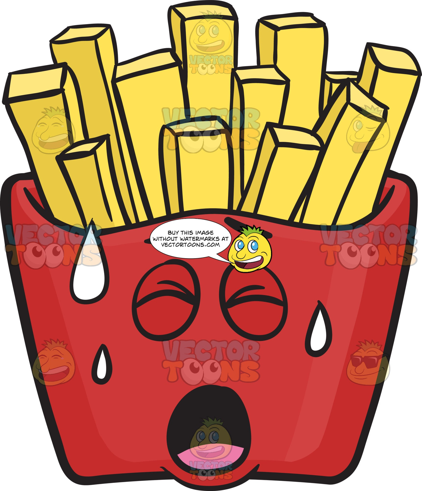 Pained Red Pack Of French Fries Emoji