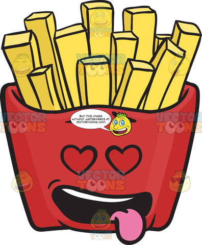 Love Struck Red Pack Of French Fries Emoji