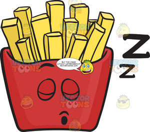 Sleeping Red Pack Of French Fries Emoji