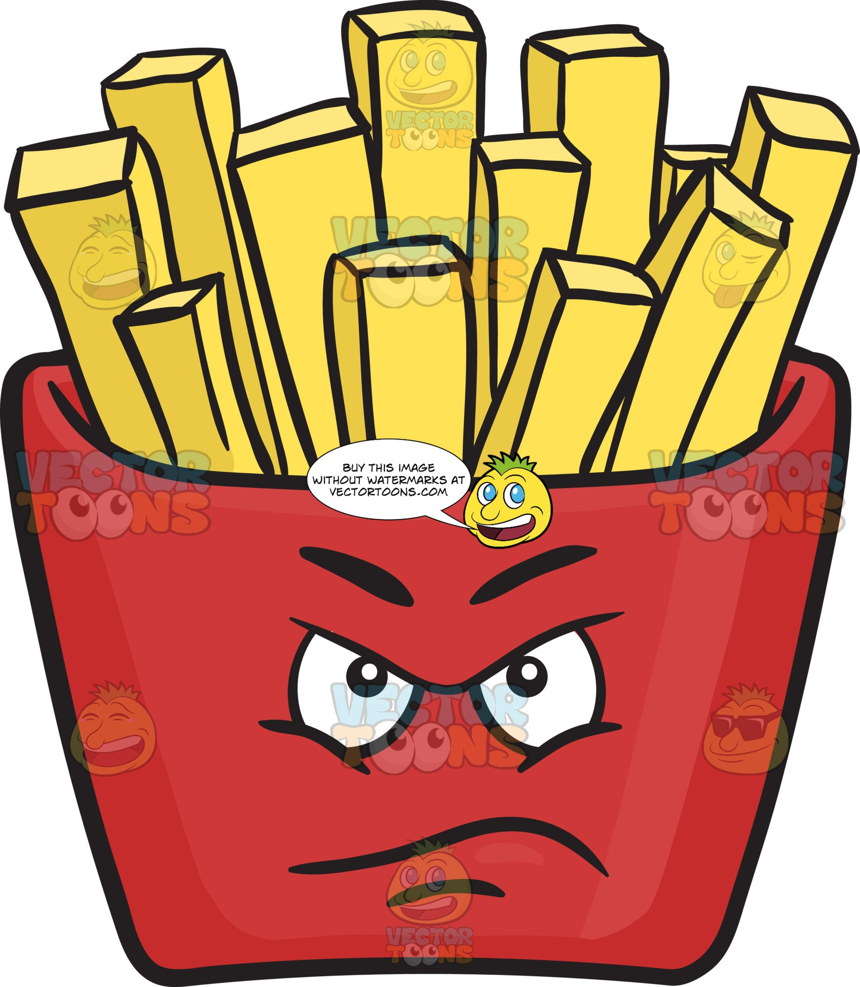 Displeased Red Pack Of French Fries Emoji