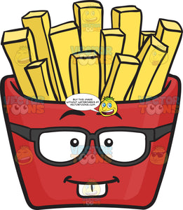 Nerdy Red Pack Of French Fries Emoji