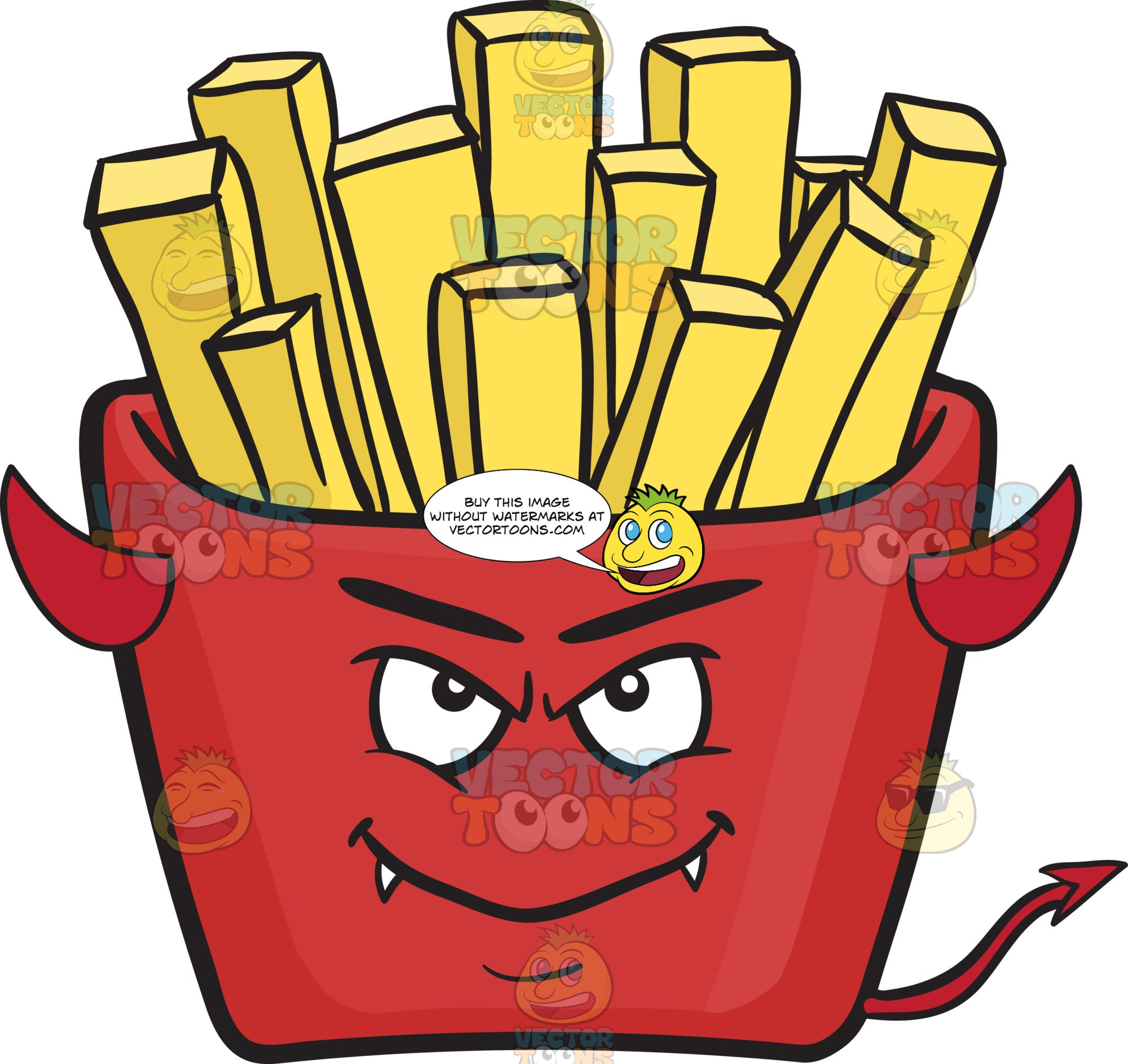 Devil Red Pack Of French Fries Emoji