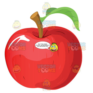 Red Delicious Apple With Stem And Leaf
