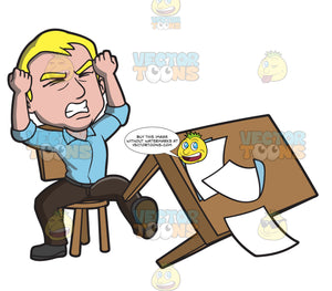 A Man Kicking His Desk In Anger
