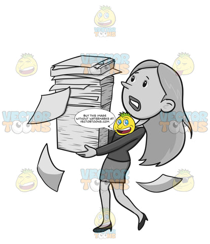 Frustrated Woman Carrying A Stack Of Paperwork