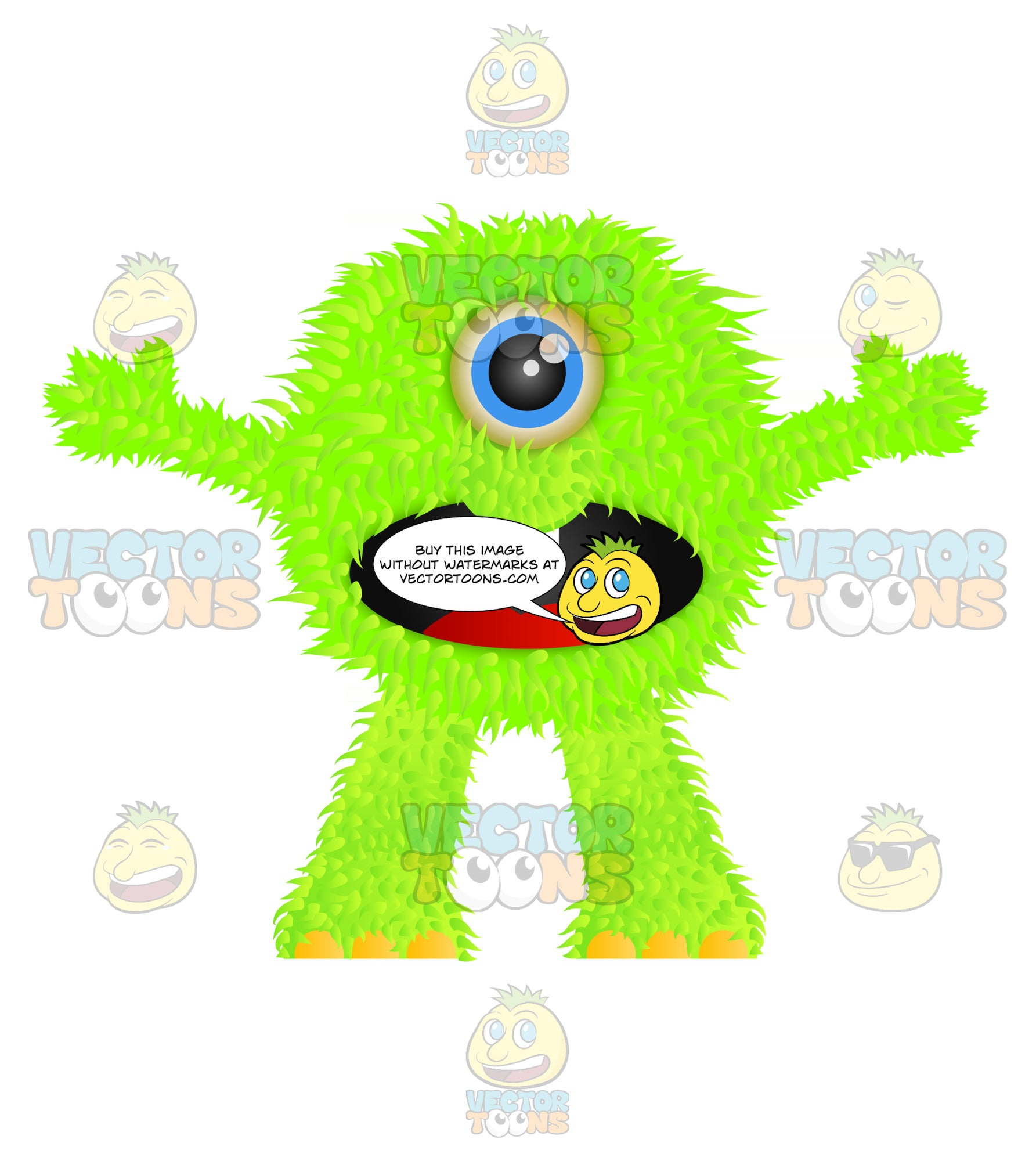 Green Furry Monster With One Eye Mouth And Arms Open