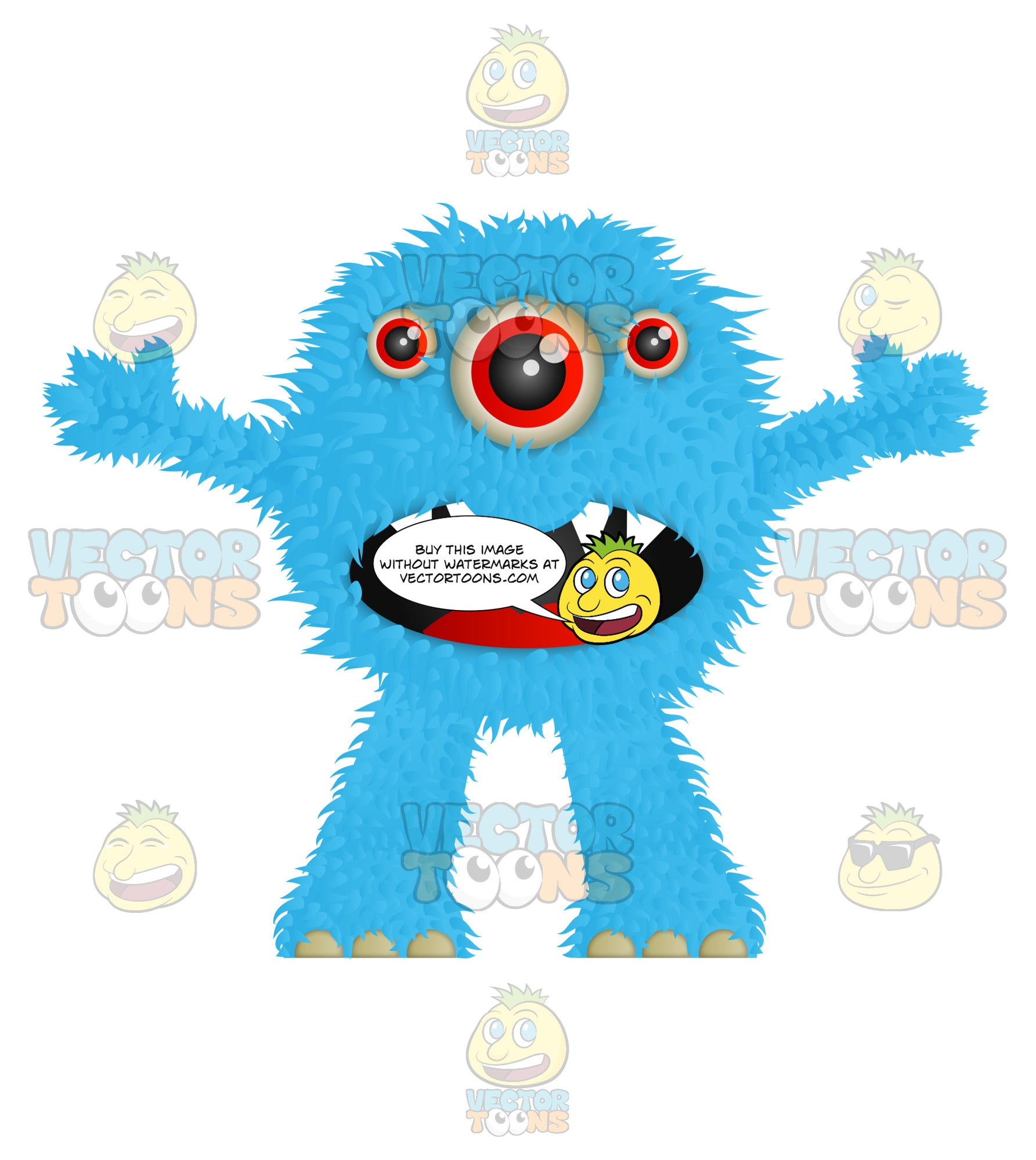Blue Furry Monster With Three Eyes Sharp Teeth And Arms Wide Open
