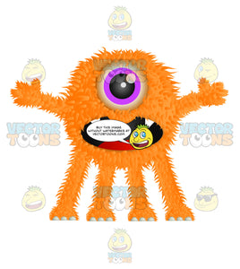 Orange Furry Monster With One Eye Sharp Teeth And Four Legs